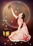 Little girl and butterflies Royalty Free Stock Photography