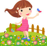 Little girl and butterfly Royalty Free Stock Photos