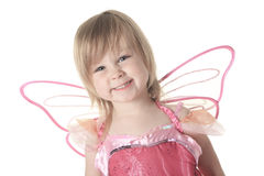Little girl in butterfly costume on white Stock Image