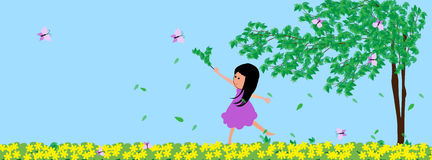 Little girl and butterfly. A little girl and butterfly in the garden Stock Images