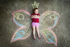 Little girl Butterfly, RESENTMENT Royalty Free Stock Images