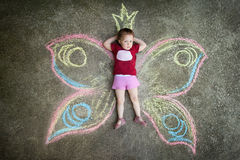 Little girl Butterfly, SHYNESS Royalty Free Stock Photography