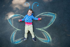 Little Girl Butterfly Royalty Free Stock Photo