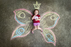 Little girl Butterfly, SURPRISE Royalty Free Stock Images