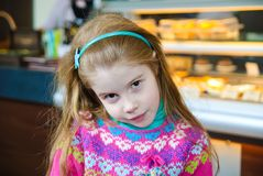 Little Girl in cafe Royalty Free Stock Photography