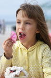 Little girl in cafe Stock Photos