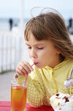 Little girl in cafe Royalty Free Stock Images