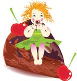 Little girl with cake. And fruits Royalty Free Stock Photography