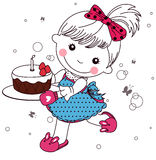 Little girl with cake Stock Image