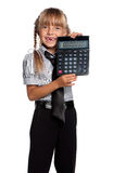 Little girl with calculator Stock Photo
