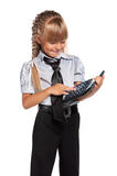 Little girl with calculator Stock Images