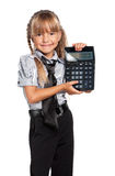 Little girl with calculator Royalty Free Stock Photography