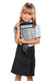 Little girl with calculator Stock Photos