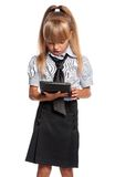Little girl with calculator Royalty Free Stock Images