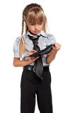 Little girl with calculator Stock Image