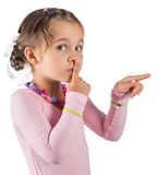 Little Girl Calling For Silence. Little Girl Is Calling For Silence royalty free stock images