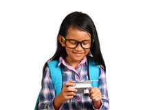 Little Girl and Camera Stock Image