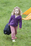 Little girl camping Royalty Free Stock Photo