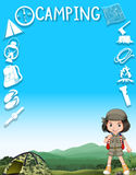 Little girl and camping equipments Stock Images