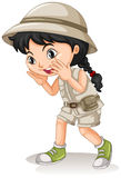 Little girl in camping outfit shouting Royalty Free Stock Photos