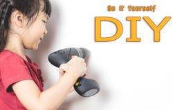 Little girl can do DIY improvement. Stock Photography