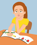 Little girl can not concentrate on her studies Stock Photography