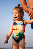 Little girl can not hold back emotions. And annoyingly cries Stock Photography