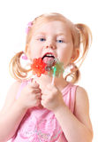 Little girl with candy Royalty Free Stock Image