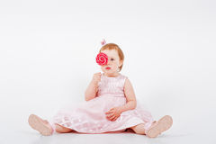 Little Girl with Candy cane Royalty Free Stock Photography