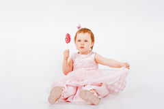 Little Girl with Candy cane Stock Photos