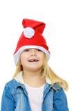Little girl cap Santa Claus. Royalty Free Stock Image
