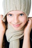 Little girl in cap and scarf Royalty Free Stock Image