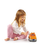 Little girl with car Stock Photography