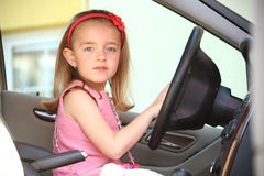 Little girl in the car Royalty Free Stock Photography