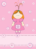 Little girl card Royalty Free Stock Photo
