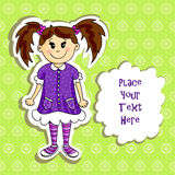 Little girl card Royalty Free Stock Image