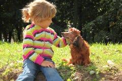 Little girl caress dachshund outdoor