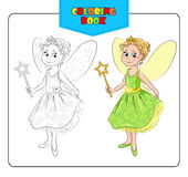 Little girl in carnival costume Fairy. Coloring book Stock Image