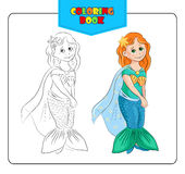 Little girl in carnival costume Mermaid. Coloring book Stock Photo