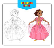 Little girl in carnival costume Princess. Coloring book Royalty Free Stock Photos