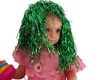 The little girl in the carnival wig Royalty Free Stock Photos