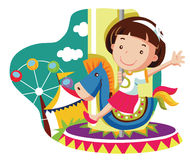 Little girl on carousel horse. Vector cartoon illustration Stock Photography