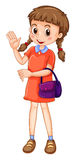 Little girl carrying purple purse Royalty Free Stock Photo