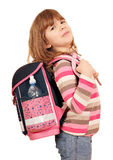 Little girl carrying a school bag Stock Photo