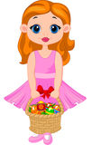 Little girl cartoon with basket full of colorful easter eggs Royalty Free Stock Photography