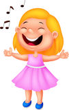 Little girl cartoon singing Royalty Free Stock Photography