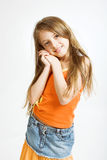 Little girl in casual dress stock images