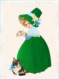 Little girl and cat. Illustration of the little girl and cat Royalty Free Stock Photography