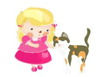 A little girl with a cat. A little girl caressing a cat, cartoon illustration Royalty Free Stock Photo