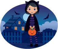 Little Girl in Cat Costume Halloween vector illustration